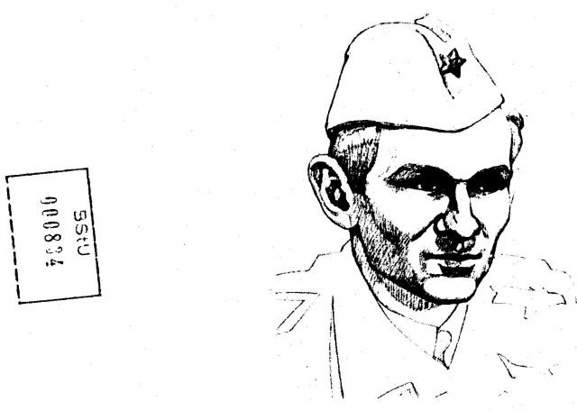 Zeichnung von Cedomir Vasic Rektor der Kunsthochschule in Belgrad Januar 1975