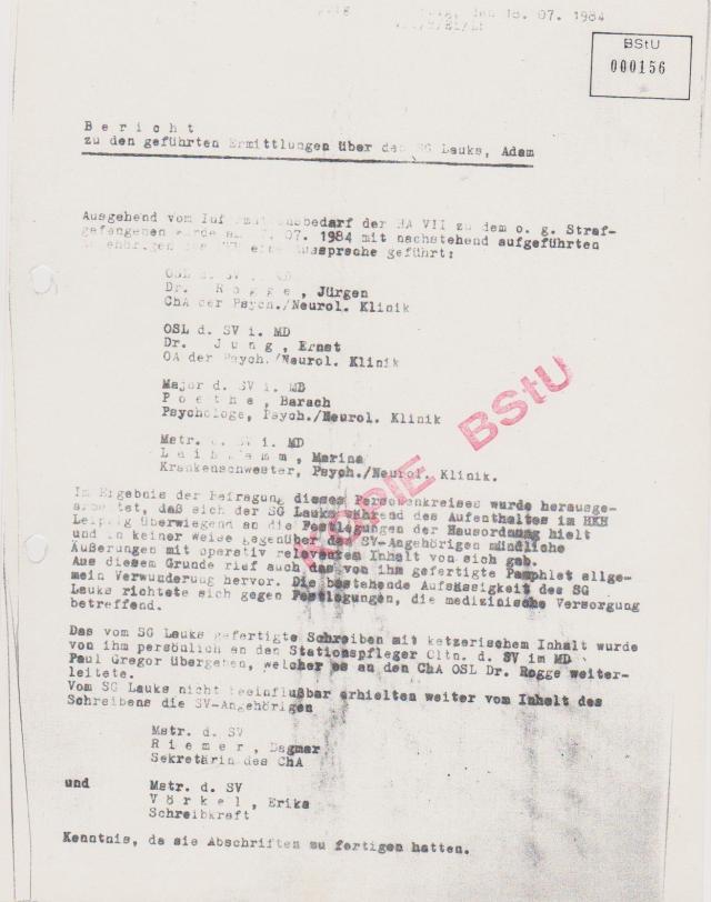 Ermittlungsverfahrengegen SG und Patienten der Neuropsychiatrie im HKH Leipzig Meusdorf
