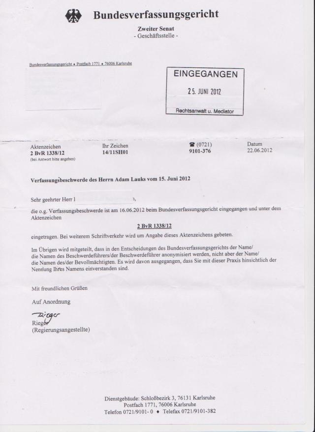 Verfassungsbeschwerde des Herrn Adam Lauks vom 15. Juni 2012