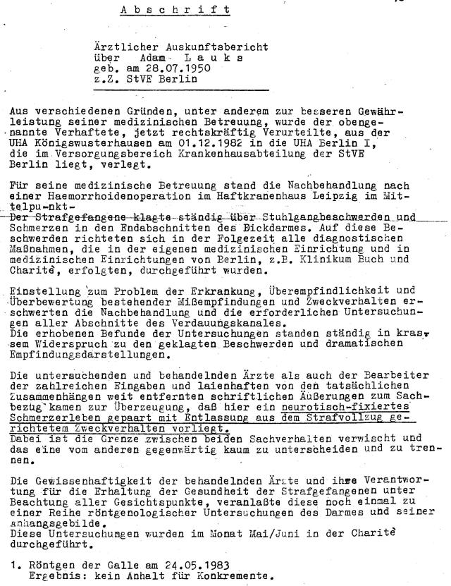 Abschrift Ärztlicher Auskunftbericht über  Adam L a u k s z.Z. StVE Berlin