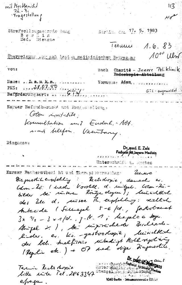 STASI Scherge Oberstleutnant Dr.Zels ließ mich vom 28.2.1983 bis zum 27.7.83 bluten