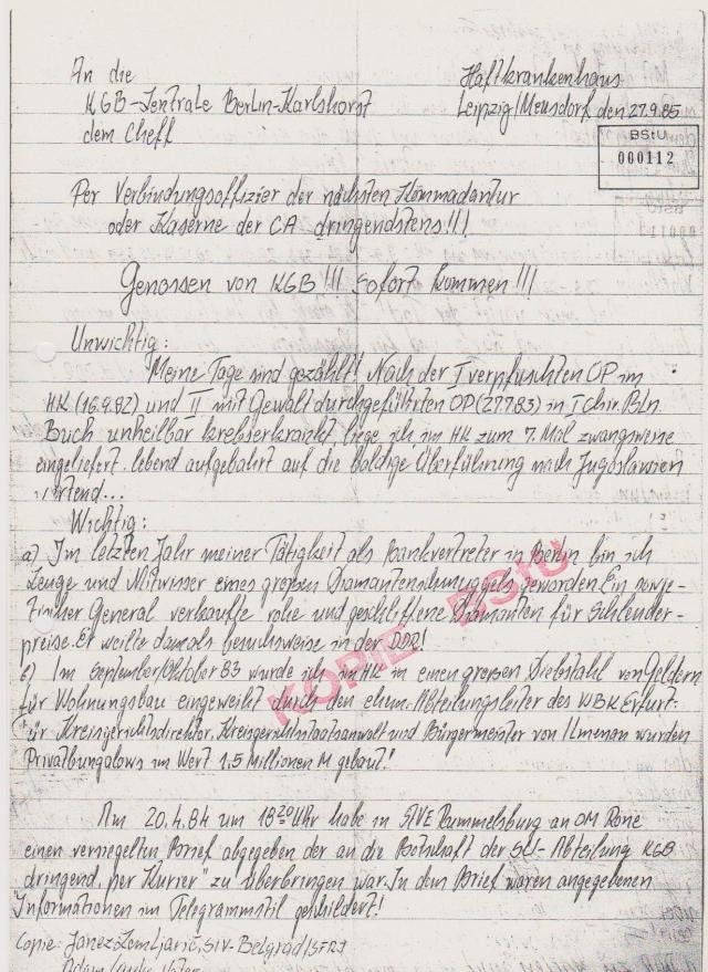 Der Oberstleutnant Dr.Jürgen Rogge als Kurier zum KGB geschickt