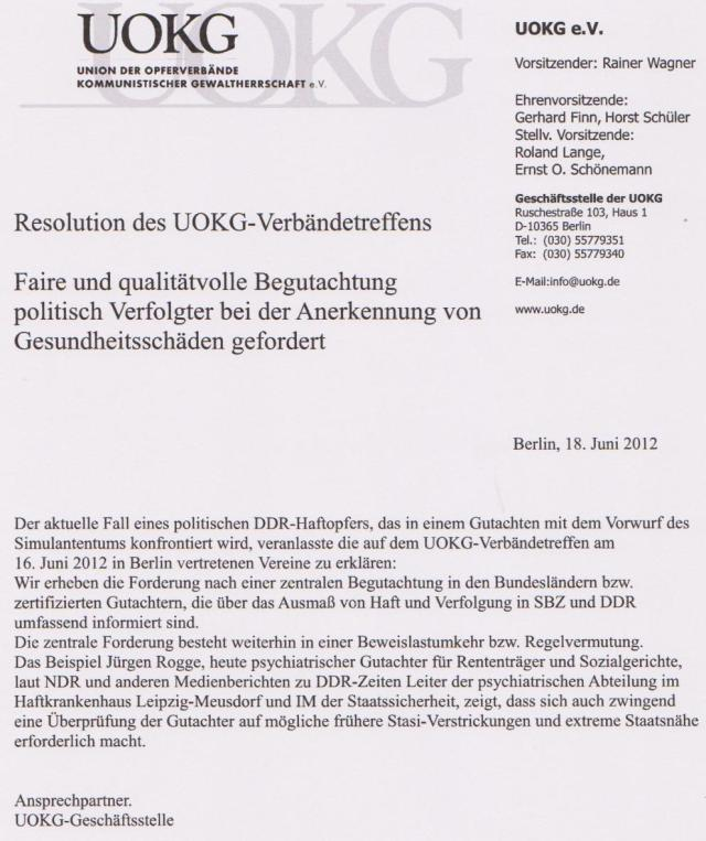 Resolution des UOKG - Verbandtreffens