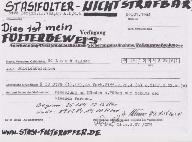 Gegen das Vergessen - Gegen die Folter und Gewalt in DDR Zuchthäusern