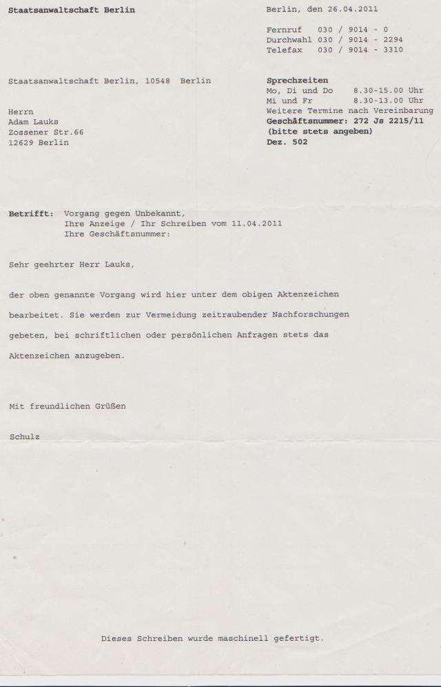 Am 11.411 Anzeige wegen Folter und Mißhandlungen am Amtsgericht Tiergarten erstattet