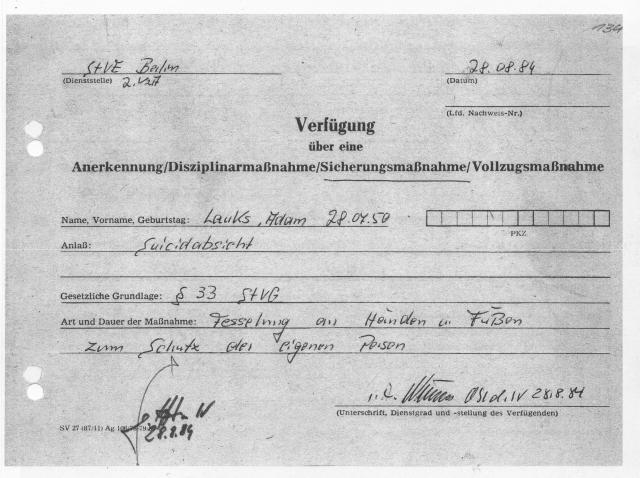 Auf den Drohbrif an Mielke  vom 25.8.84 abgegeben am 26.8.1984
