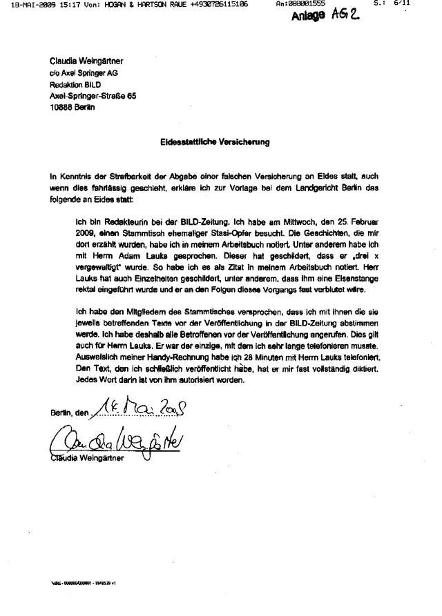 Eidesstattliche Erklärung Weingärtner Claudia Axel Springer Verlag