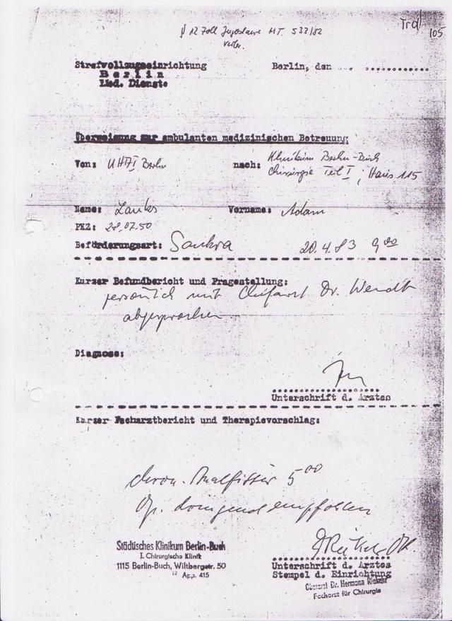 Nach dem Arztbericht des IM NAGELS vom 18.4.1983
