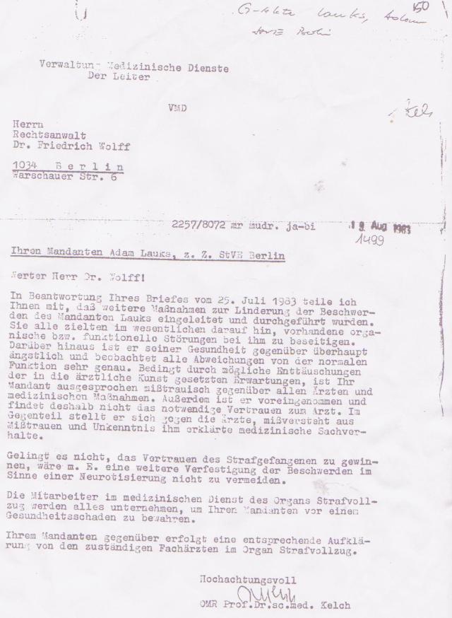 Eine Gewaltnotoperation ist für Generalmajor OMR Prof.Dr. Kelch nicht erwähnmenswert - weil das so im Strafvollzug üblich ist