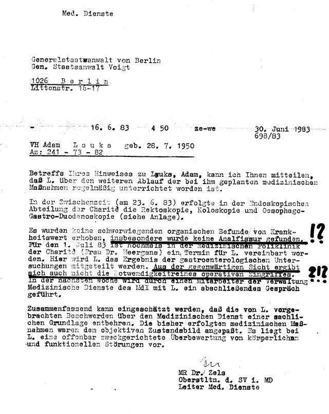 Die Diagnose Analfissur, an der ich am 4.5.83  hätte operiert werden in Buch - durch IME NAGEL niedergeschlagen !?