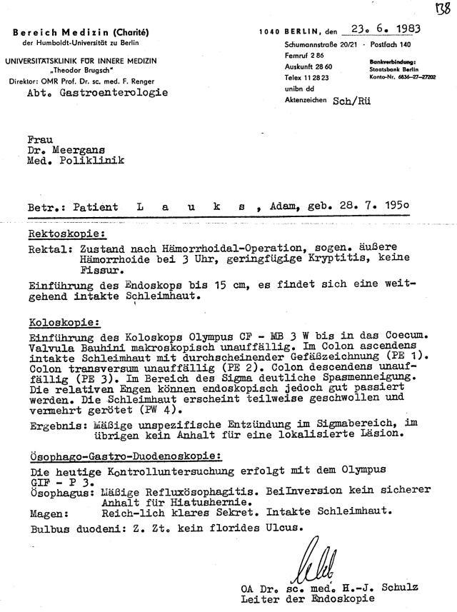 Dies gehört zur Geschichte der Berliner Charite - die Ärzteschaft im Dienste des MfS