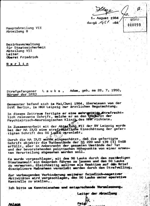 Was im Strafvollzug der DDR ablief bestimmte IMMER die STASI