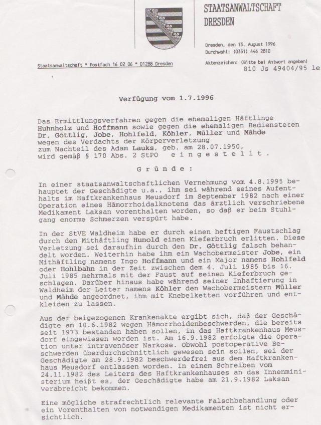 Verfahren Eingestellt - Akte vernichtet : DDR war ein Rechtsstaat !??