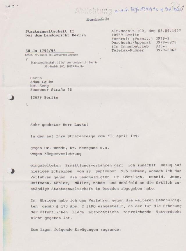 Einstellung des Ermittlungsverfahrens 30.Js 1792/93