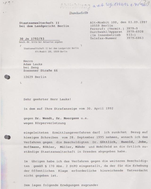 2006 existierte die Akte 76 Js 2722/92 nicht mehr wurde in Sachsen vernichtet
