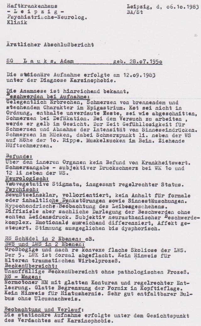 Erster Ärztlicher Abschlußbericht des STASIschergen OSL Jürgen Rogge