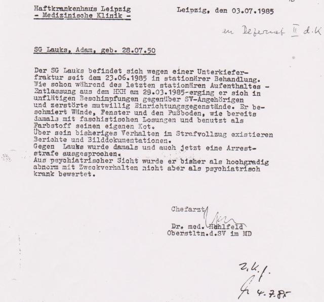 ChA Hohlfeld Oberstleutnant des Strafvollzuges im MD