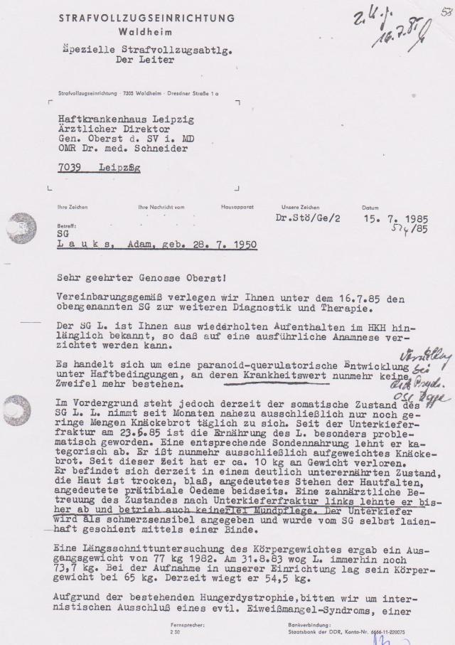 Am 4.7.85 schrieb ich die Endabrechnung an Honecker