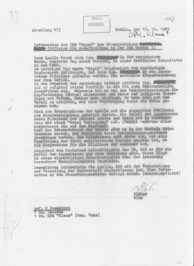 """IMKS """"Nagel""""  machte seine B-Dissertation 1988 an der NVA medizinischen Fakultät/Universität !? """"Ein Befall der Augenbrauen durch Filzläuse ist äußert selten..."""""""