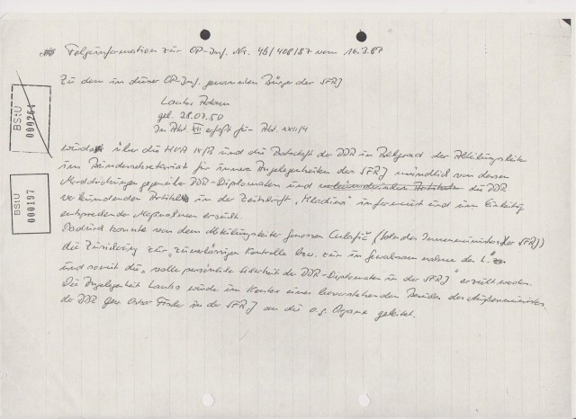 Folgeinformation zur OP-Inf. Nr, 48/408/87 vom 16.3.87