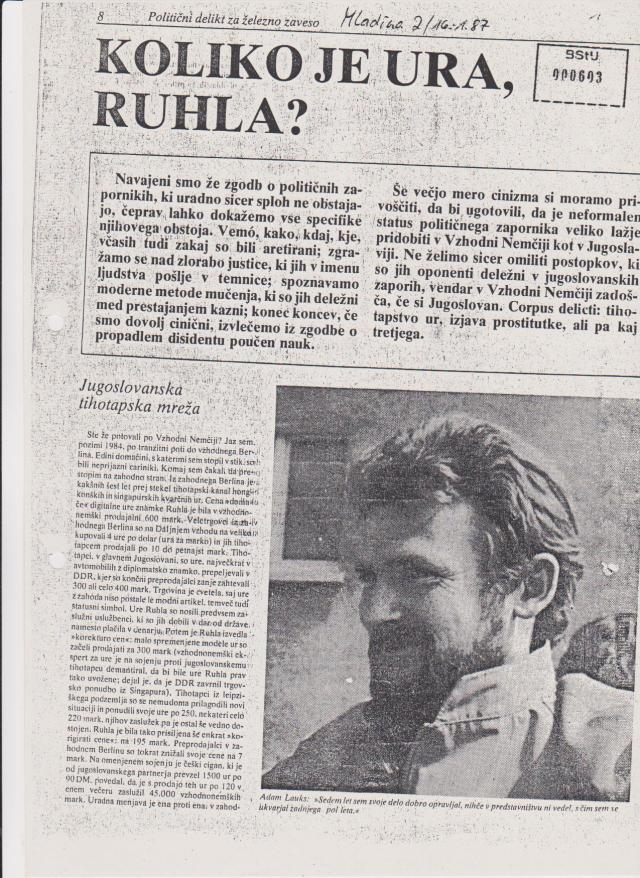 MLADINA LJUBLJANA damals SFRJ  Journalist Gorazd Suhadolnik