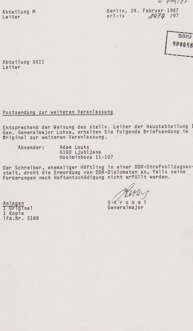 Abteilung M - Leiter (Postkontrolle) an Abteilung XXII Terrorabwehr