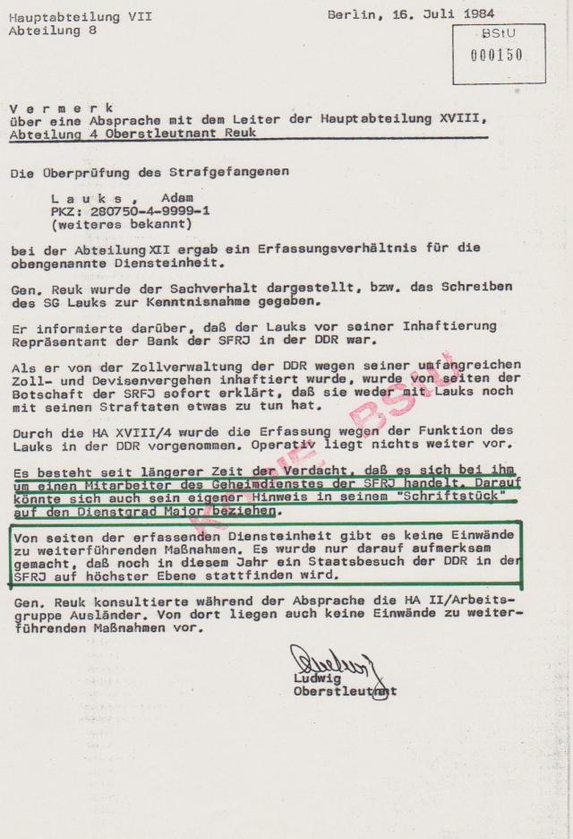 HVA XVIII/4 OSL Reuk erfährt über das staatsfeindliche Schreiben von Lauks &K.Tucholsky
