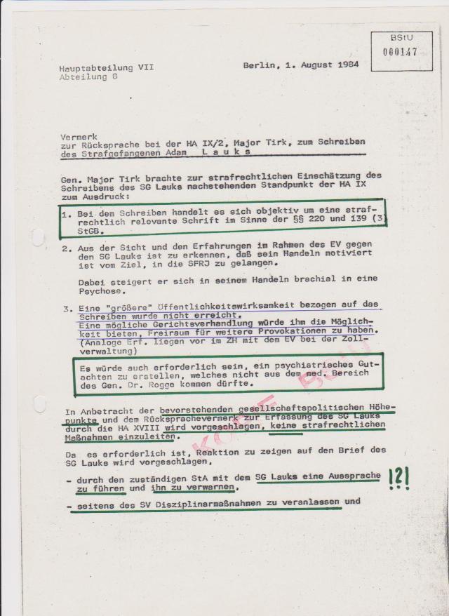 HA IX/2 glüht Gen.Major Tirk zur strafrechtlichen Einschätzung des Schreibens: