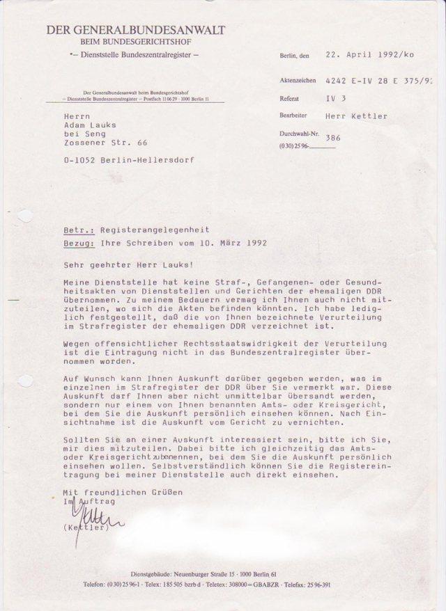 Generalbundesanwalt  22.4.1992