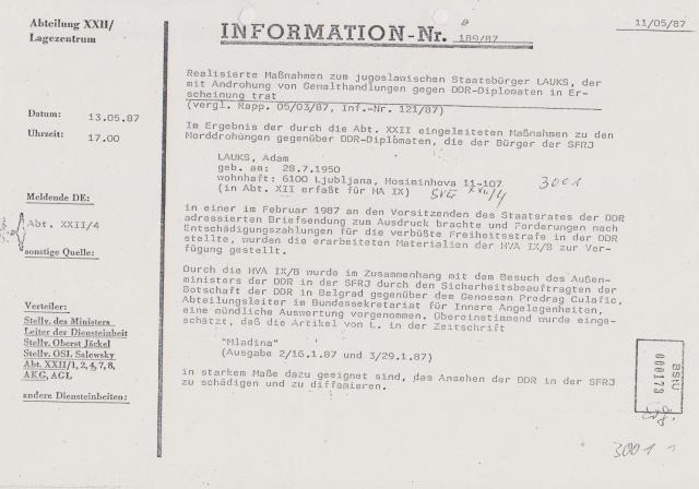 XXII/4 schlägt Alarm - Diplomaten der DDR in Visier !?? Siehe den Verteiler !!!