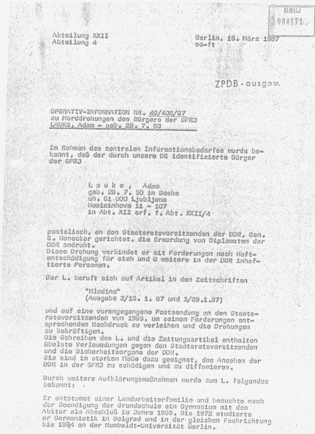 """""""Die Endabrechnung"""" an Honecker war  am 6 Juli in Waldheim verfasst und im verschlossenen Brief abgegeben"""