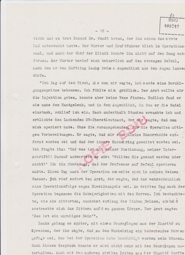 Gewaltnotoperation in Buch am 27.7.1983 Doz. Dr Wendt und Dr. Rieckert