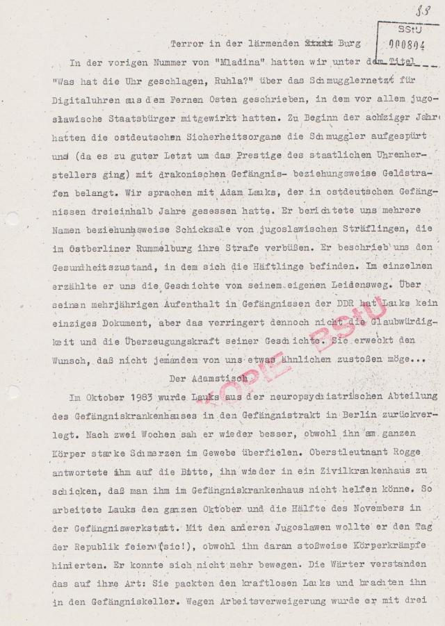 Im Oktober 1983 Rückverlegung aus dem Kuckucksnest nach Haus 6 in Rummelsburg