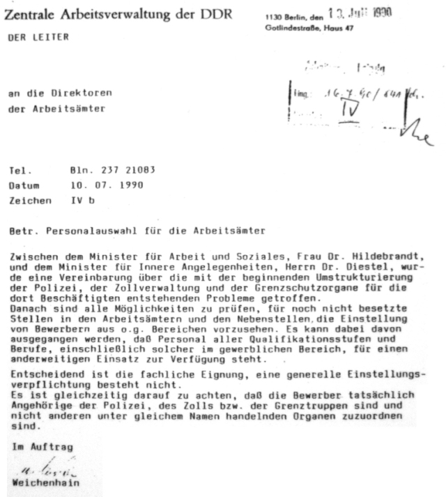 Diestel an Hildebrand Juli 1990