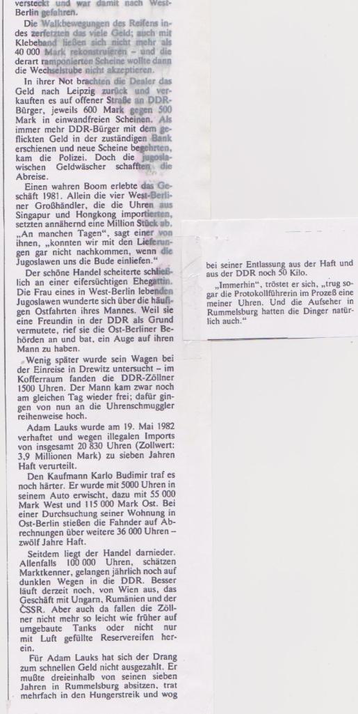 Ich habe NIEMALS eine einzige Quarzuhr in die DDR rübergeschafft !!! wie des SPIEGEL schreibt