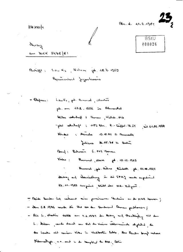Auszug aus  5478/81 für den 1.Stellvertreter Generalleutnant Rudi Mittig