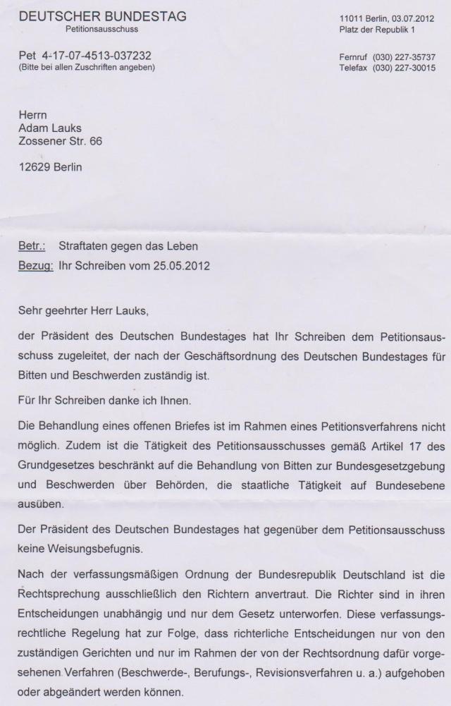 Sie Behandlung eines Offenen Briefes  ist im Rahmen eines Petitionsverfahrenns nicht möglic.