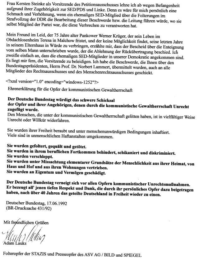 Ehrenerklärung für die Opfer der kommunistischen Gewaltherrschaft Deutscher Bundestag 17.06.1992