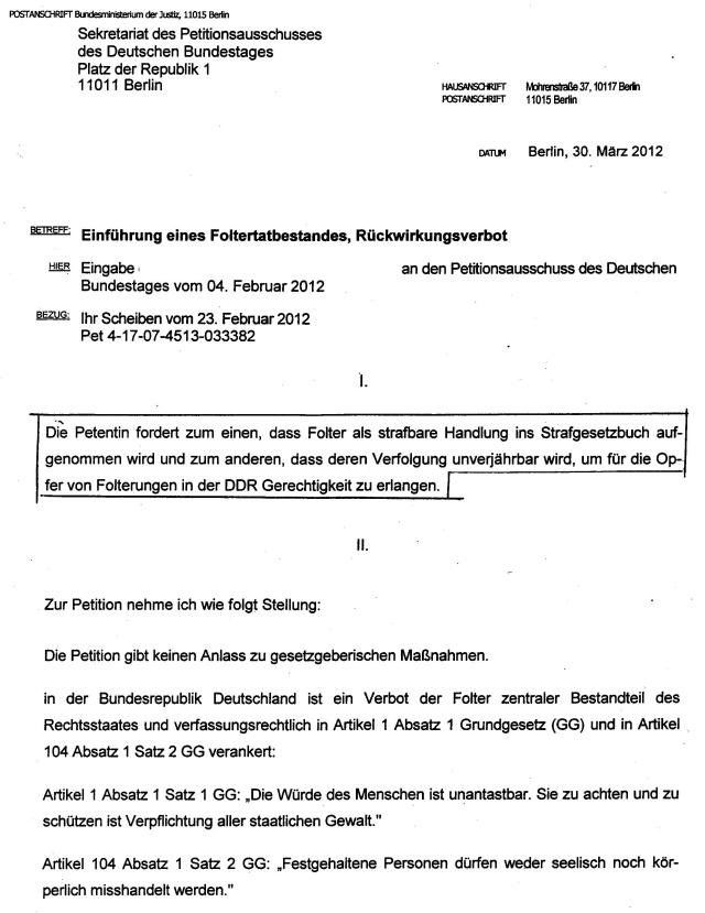Petitionsausschuss des Deutschen Bundestages  verweigerte  eine Petition für die Implementierung des § Folter ff in das Nnationale StGB !??