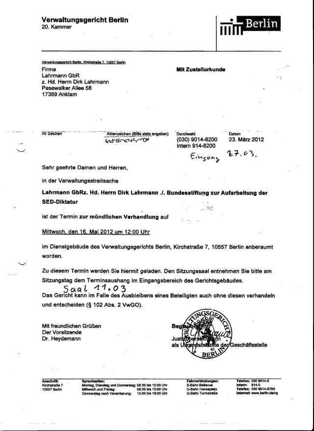 Ladung  zum  Process am 16.Mai 2012 um 12.00 Uhr