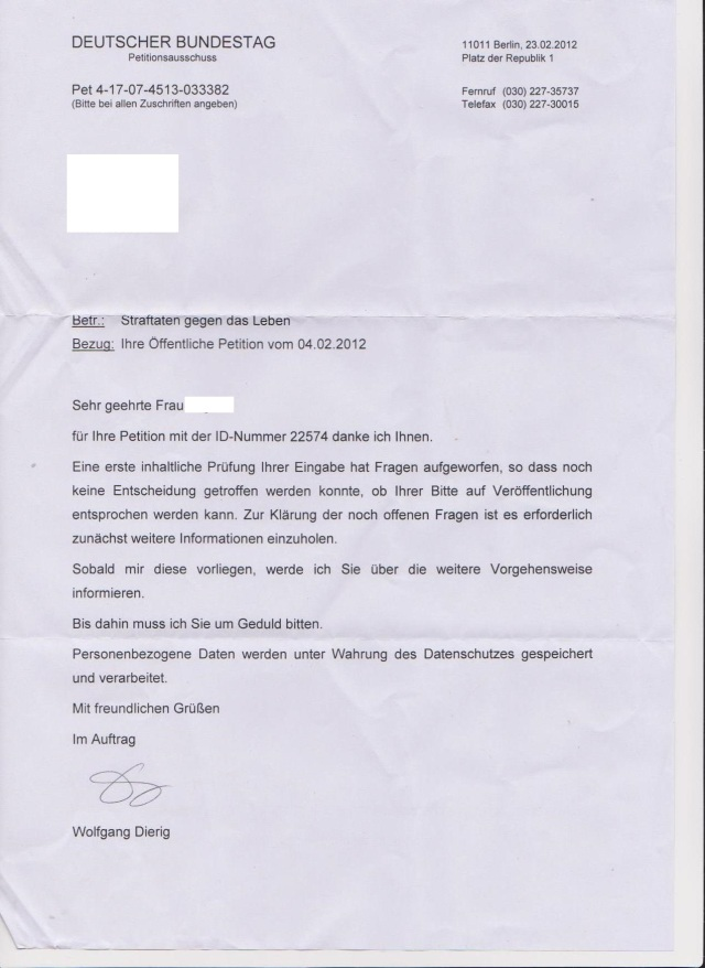 Petition vom 04.02.2012
