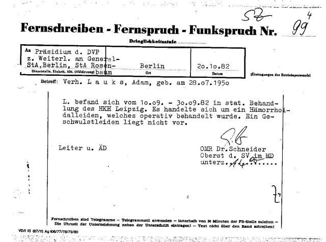 Oberst Schneider informierte die Staatsanwältin Rosenbaum  drei Wochen nach der Entlassung aus dem HK