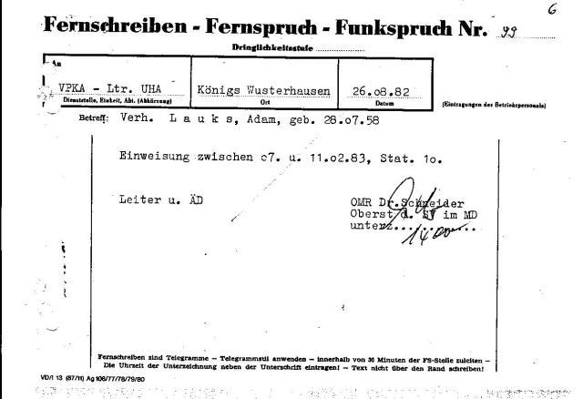 Oberst Schneider storniert die Einweisung am 10.9.1982  - sein Fernschreiben vom 26.08.1982 geht erst am 30.08.82 raus...