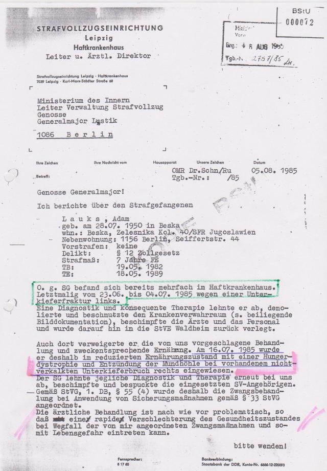 Ersuchen der Staatsanwaltschaft II um die Herausgabe der Akte Lauks aus den Beständen der Gauck Behörde IM ORIGINAL