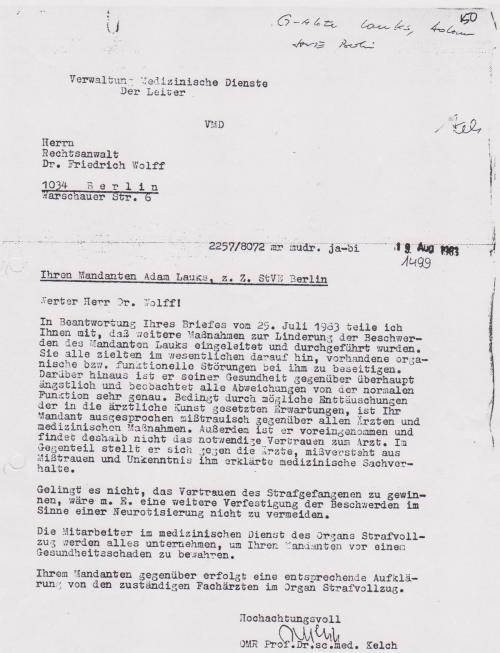 Dr. Friedrich Wolf bettelt um Hilfe wegen inneren Blutnugen am 25.7.1983