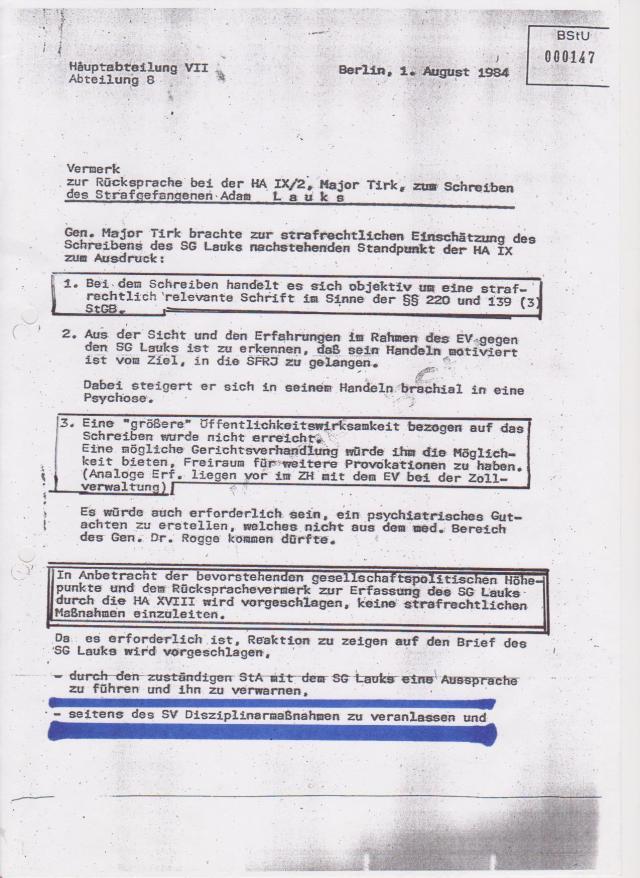 Die HA VII/8   erstattet Bericht  derHA IX - Oberst Herzog