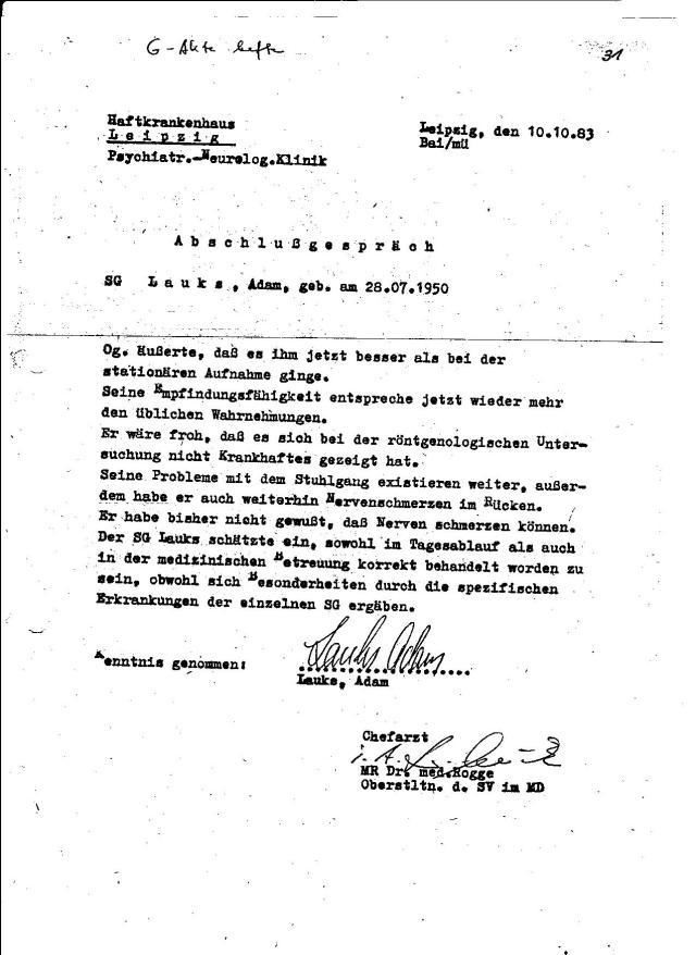 Nach einem Monat im Kuckucksnest von OSL Jürgen Rogge ging wieder zurück in den Strafvollzug Berlin Rummelsburg.
