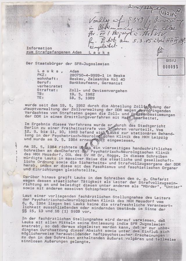 Information zum Strafgefangenen Adam L a u k s BStU 000095