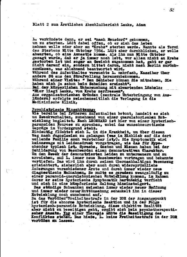 Wenn ich über die Berichte von T.Sterneberg lese über Verrat am Patienten und Psychiatrisierung mit Psychopharmaka im Hohneck durch IM PIT - Peter Janata lese muss ich schmunzeln.