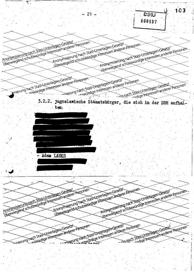 3.2.2, jugoslawische Staatsbürger , die sich in der DDR aufhalten - 10 Personen  nannte Angelov namentlic